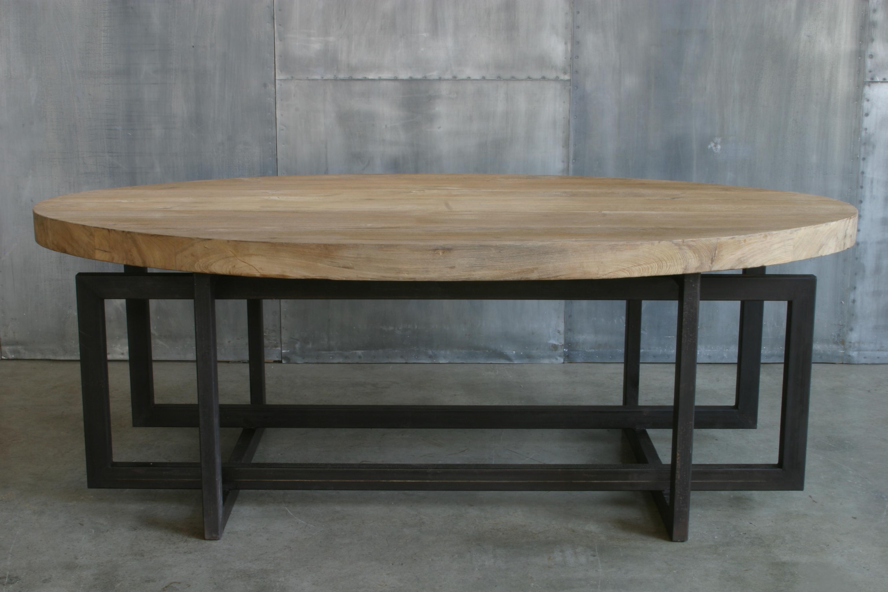 Ca34 mesa oval madera hierro cat logo concha bay for Mesa hierro y madera