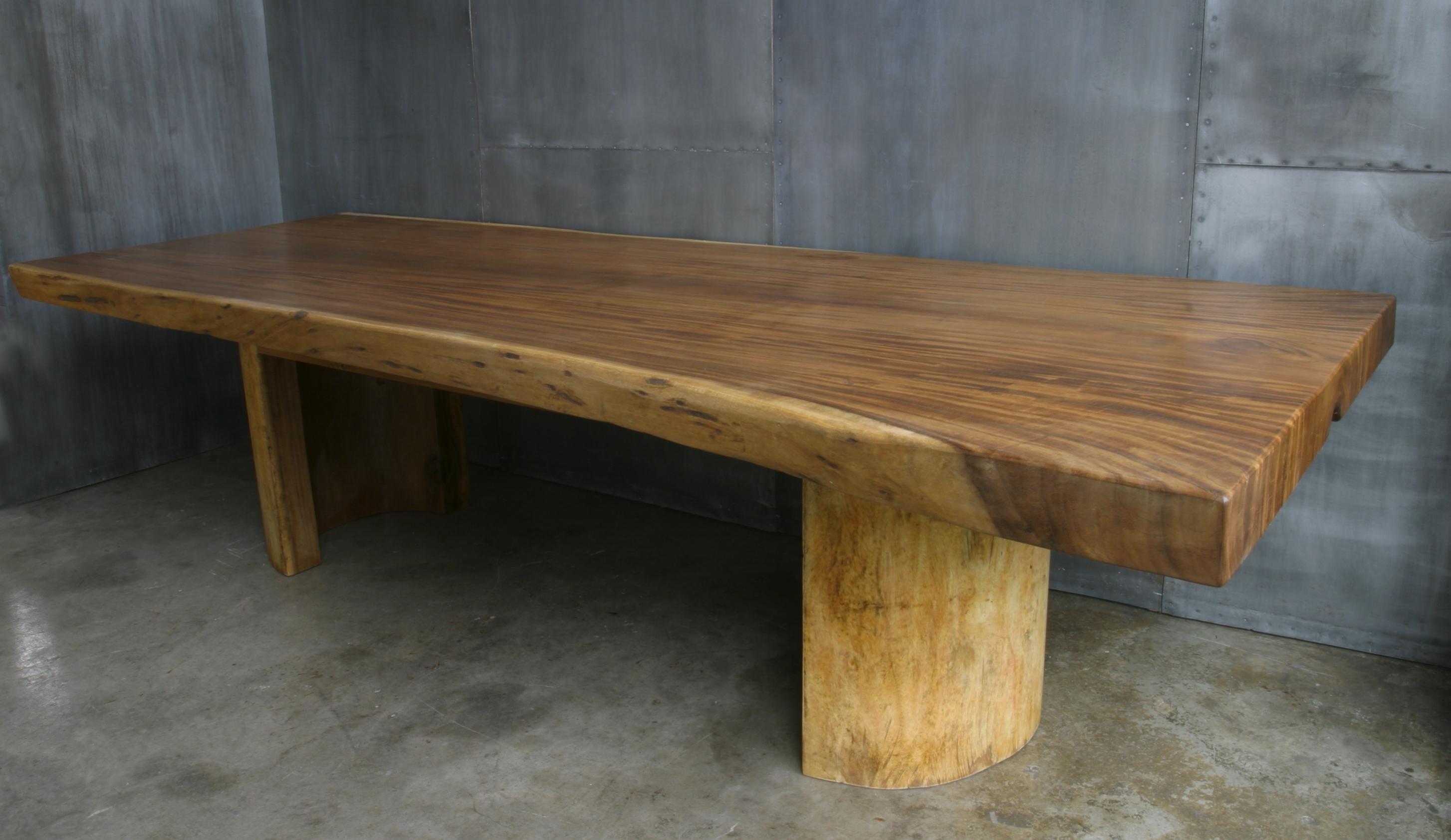Yc29 mesa 1 pieza madera hierro cat logo concha bay for Mesas redondas de madera rusticas